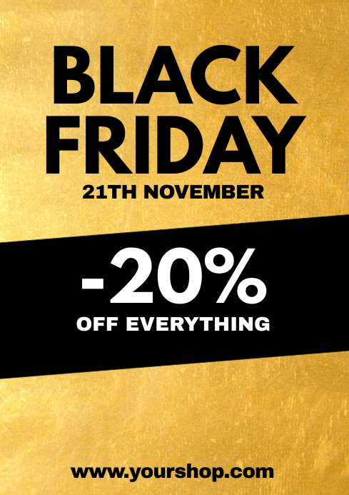 Black Friday Sale Poster Gold Flyer Shop Ad A4 template