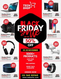 Black Friday Sale Video Ad ใบปลิว (US Letter) template