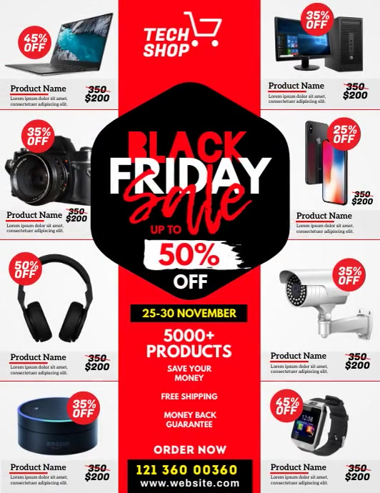 Black Friday Sale Video Ad Flyer (US Letter) template