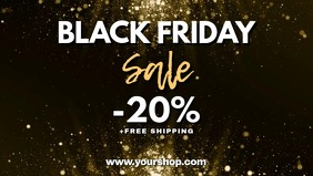 Black Friday Video Cover Header Gold GLam Ad Facebook-omslagvideo (16:9) template