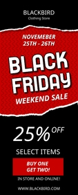 Black Friday Weekend Sale Banner Cartel enrollable de 2 × 5 pulg. template