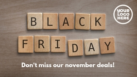 Black Friday Wooden Letters Ad Template Twitter 帖子