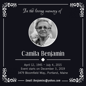 Black Funeral Service Card Instagram na Post template