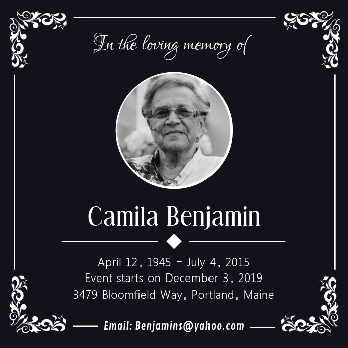 Black Funeral Service Card Post Instagram template