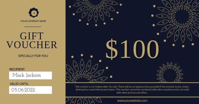 Black Gift Voucher Imagem partilhada do Facebook template