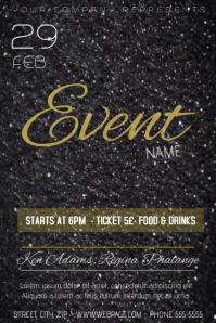 black glitter gold glamour event flyer template