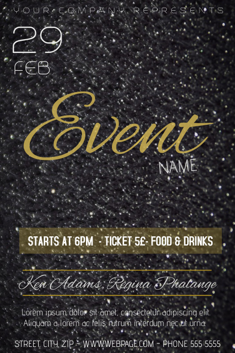 black glitter gold glamour event flyer template PosterMyWall