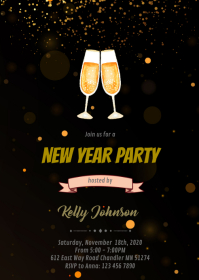 Black gold new year party invitation A6 template