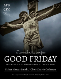 Black Good Friday Flyer 传单(美国信函) template
