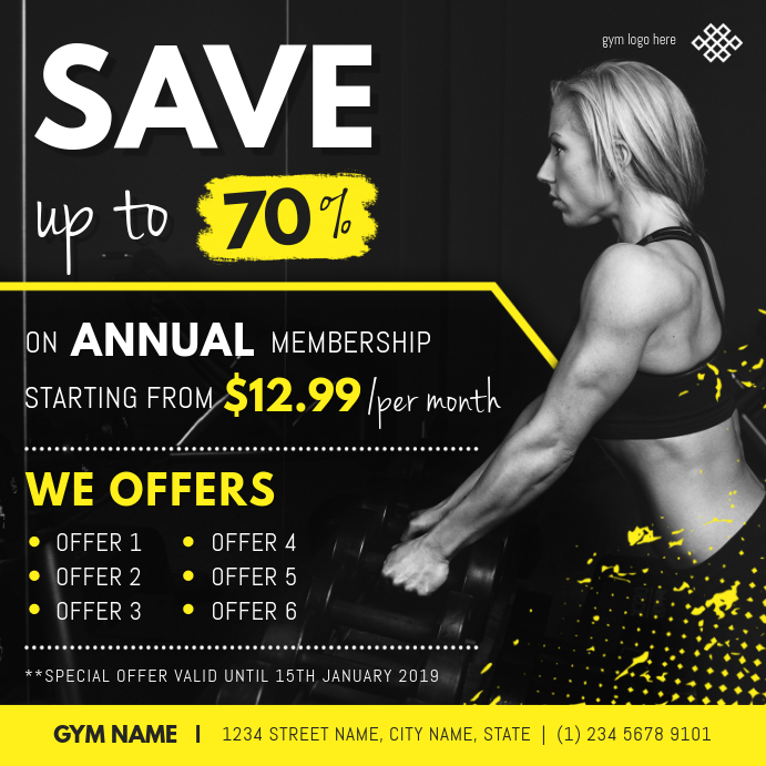 Black Gym discount Instagram Post Template