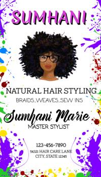 Black hair stylist natural hair business card Visitenkarte template