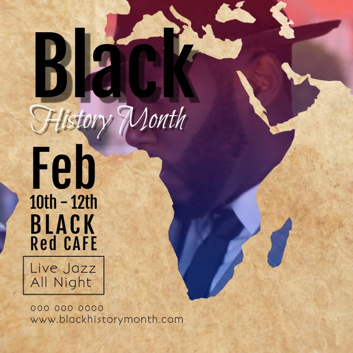 Black History Jazz Month Square Video Kwadrat (1:1) template