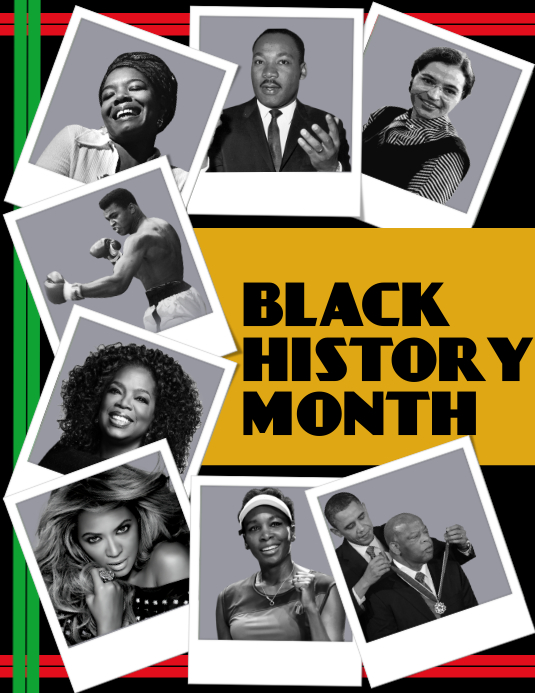 Black History Month, Collage Pamflet (Letter AS) template