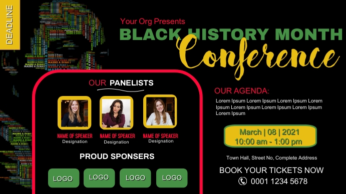 Black History Month African American Right Mo Digitalt display (16:9) template