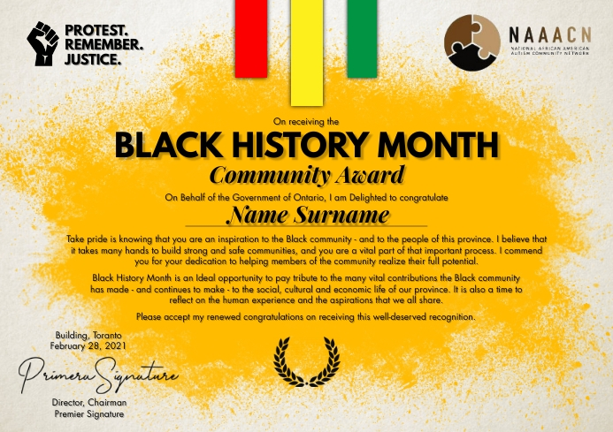 Black History Month Certificate Template A4