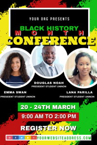 Black History Month Conference Speaker Flyer Poster template