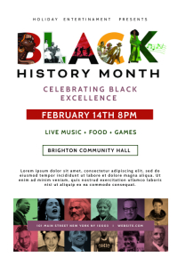 Black History Month Cultural Event Flyer Баннер 4' × 6' template