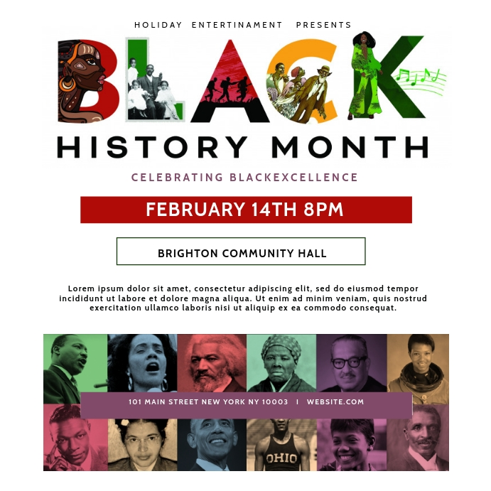 Black History Month Cultural Event Flyer Instagram Post template