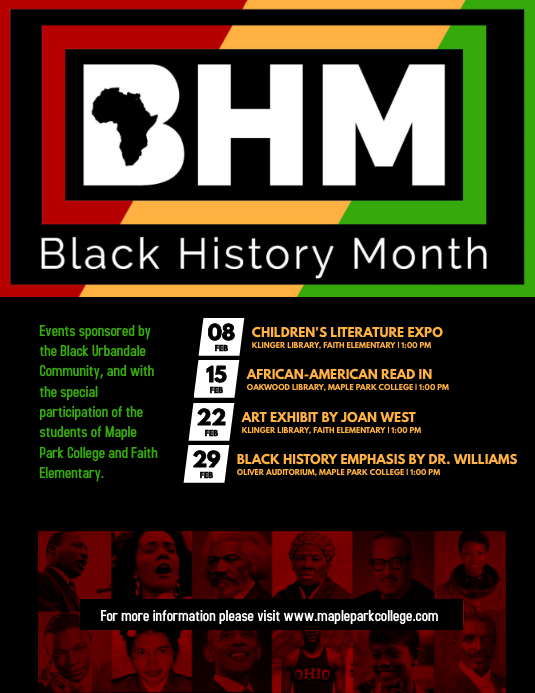 Black History Month Cultural Event Schedule P Flyer (US Letter) template