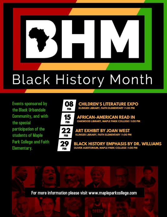 Black History Month Cultural Event Schedule P Løbeseddel (US Letter) template
