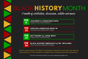 Black History Month Cultural Event Schedule Poster