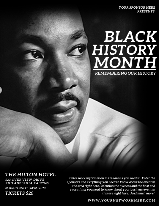 Black history month Folder (US Letter) template