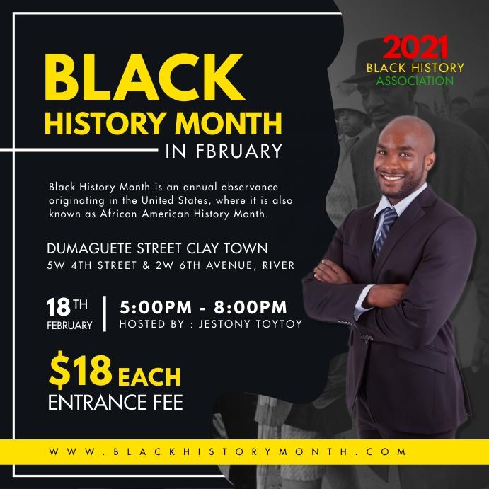 Black History Month Event Instagram Post Temp Instagram-opslag template