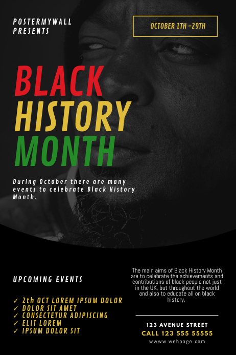 Black History Month Event Schedule Flyer