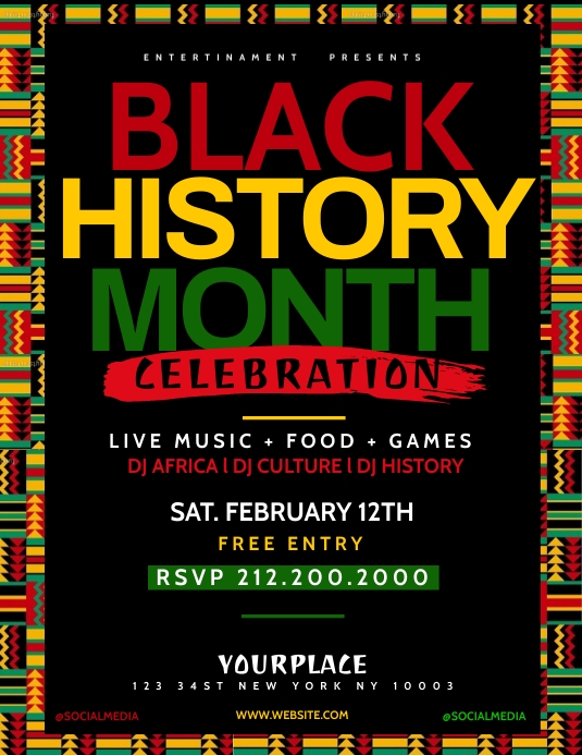 Black History Month Flyer Template Løbeseddel (US Letter)