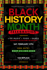 Black History Month Flyer Template Banner 4 x 6 fod