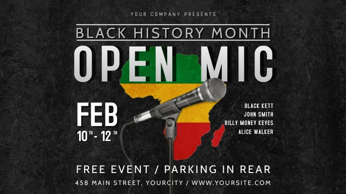 Black History Month Open Mic Event Digital Display Poster Цифровой дисплей (16 : 9) template
