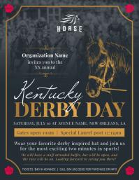 Black Kentucky Derby Party Flyer 传单(美国信函) template