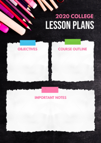 Black Lesson Plan Design for School A4 template
