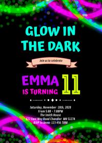 Black light Glow Birthday Invitation A6 template