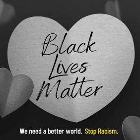 Black Lives Matter falling dark hearts video Instagram Post template