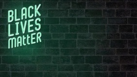 Black lives matter neon zoom background Presentation (16:9) template