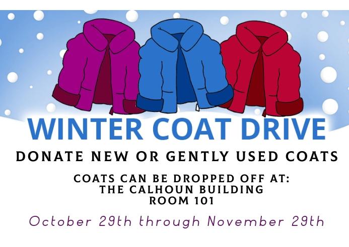 Winter coat drive fundraising event Postkort template