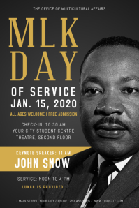 Black Martin Luther King Jr. Day Poster Plakat template