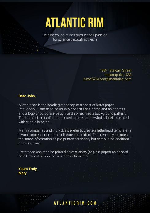 Black Modern Corporate Letterhead A4 template