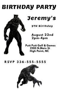 Black Panther Birthday Poster template