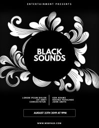 Black party event flyer design template
