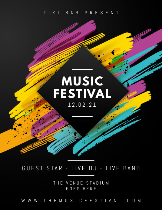 Black Pastel Music Festival Poster Flyer (Letter pang-US) template