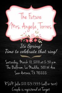 Black Pink Floral Frame Invite