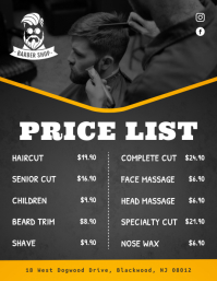 Black Price List Flyer Template