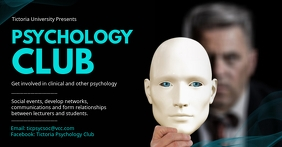 Black psychology club flyer Facebook Shared Image template
