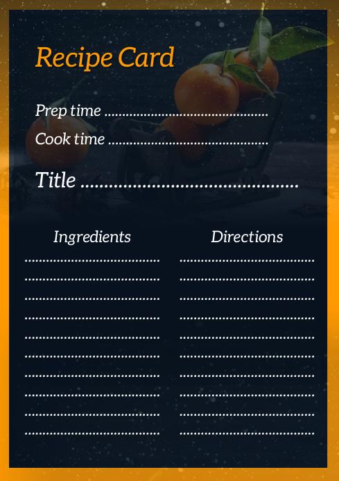 Black Recipe Card