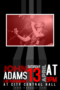 black red and white concert rock band poster flyer template