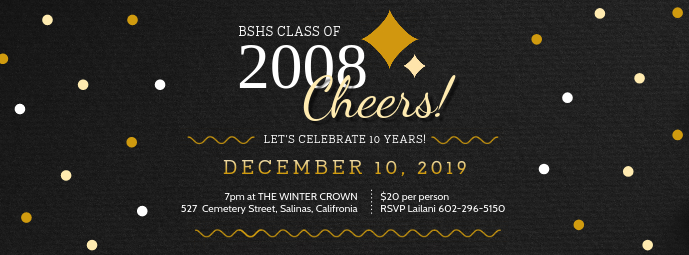 Black Regal Class Reunion Invitation Banner Facebook 封面图片 template
