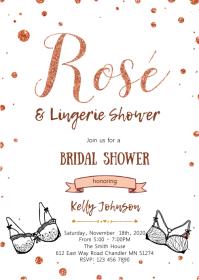 Black rose gold lingerie shower theme