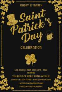 Black Saint Patrick's Party Poster template